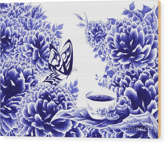 Butterfly Teatime Wood Print