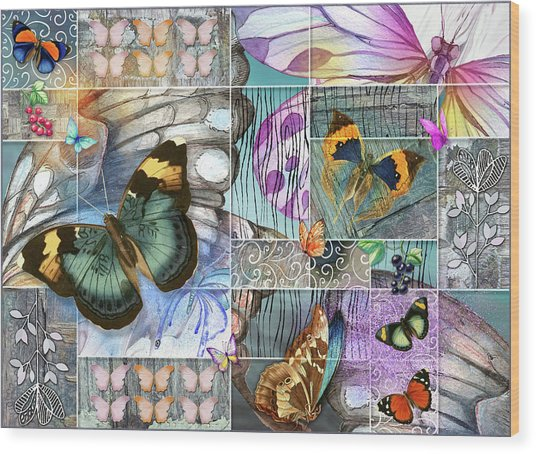 Butterfly Wings Collage Wood Print