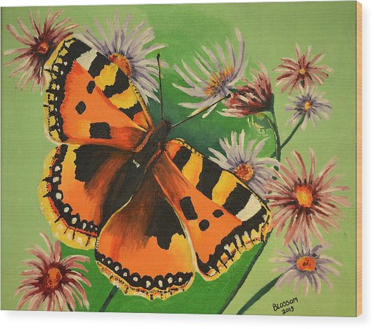 Butterfly With Asters Wood Print