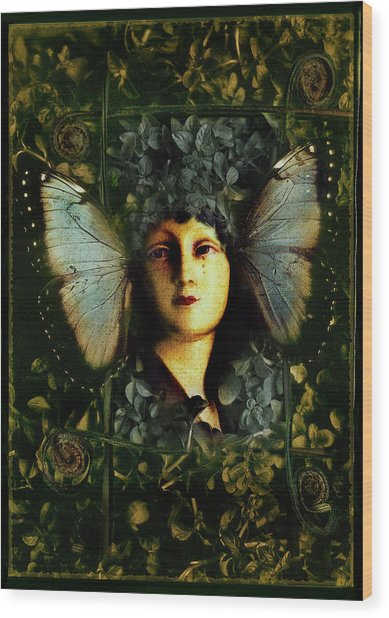 Butterfly Woman Wood Print