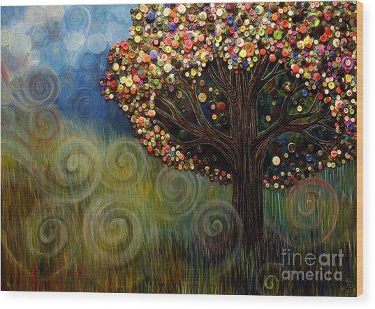Button Tree 0003 Wood Print