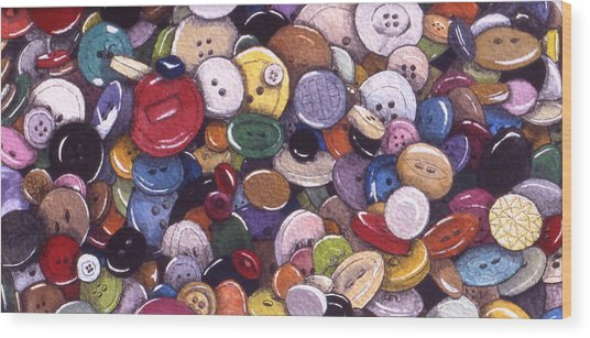 Buttons Wood Print by Victoria Heryet