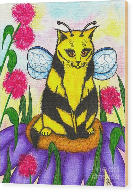 Buzz Bumble Bee Fairy Cat Wood Print