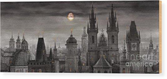Bw Prague City Of Hundres Spiers Wood Print
