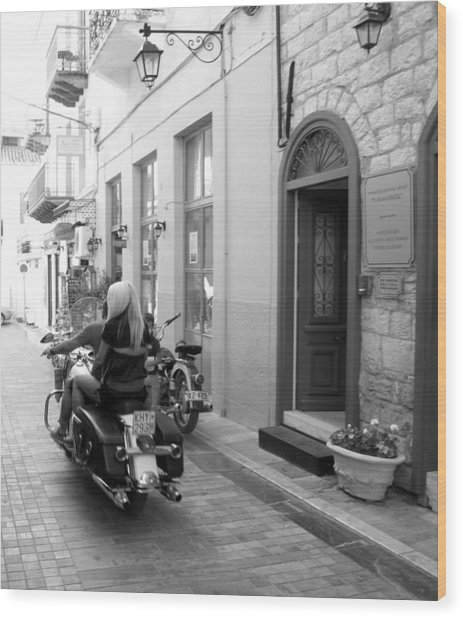 Bw Sexy Girl Riding On Motorcycle With Handsome Bike Rider Speed Stone Paved Street Nafplion Greece Wood Print