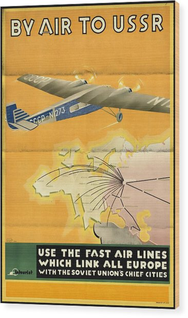 By Air To Ussr With The Soviet Union's Chief Cities - Vintage Poster Folded Wood Print