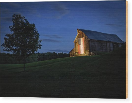 Old Glory By Dusks Early Light Wood Print