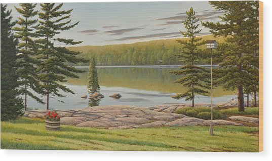 By The Lakeside Wood Print