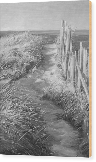 By The Sea - Black And White Wood Print