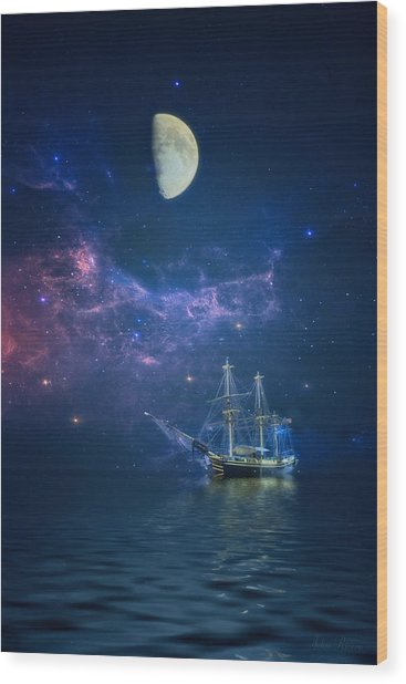 By Way Of The Moon And Stars Wood Print
