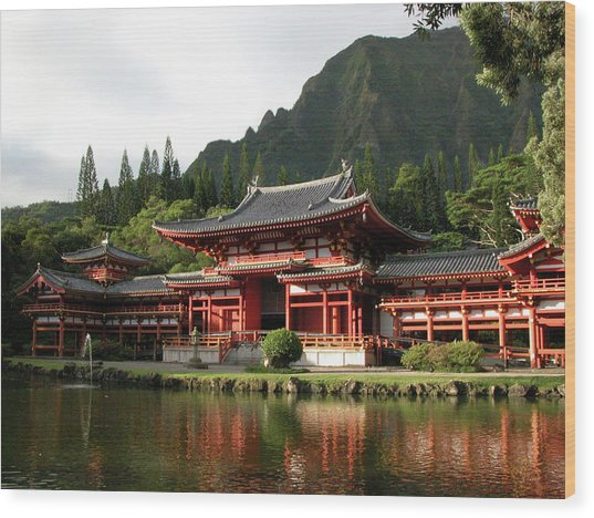 Wood Print featuring the photograph Byodo-in Temple, Oahu, Hawaii by Mark Czerniec