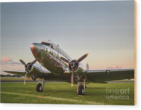 C-47 At Dusk Wood Print