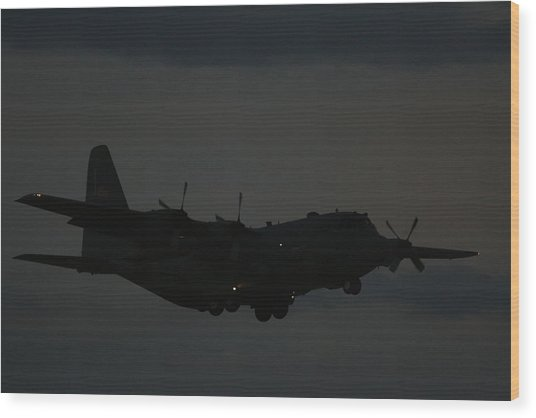 C130 Hercules Night Flight Wood Print