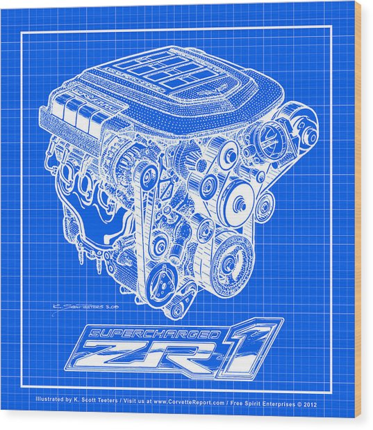 C6 Zr1 Corvette Ls9 Engine Blueprint Wood Print