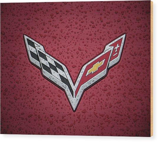C7 Badge Red Wood Print