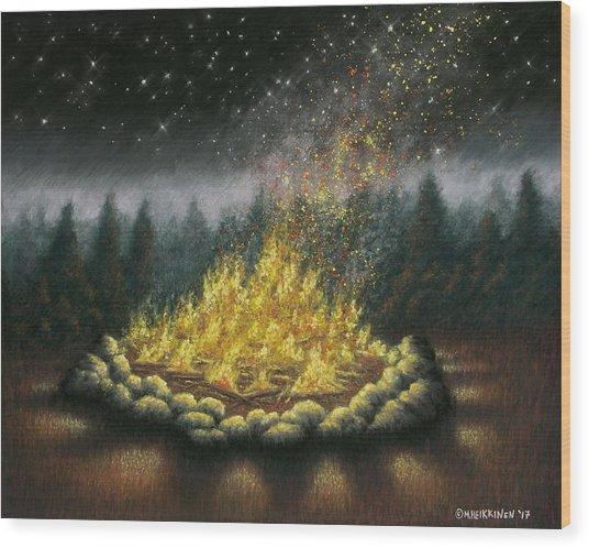Campfire 01 Wood Print