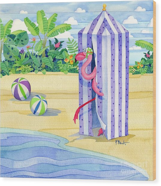 Cabana Flamingo Wood Print by Paul Brent