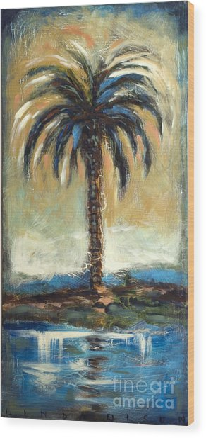 Cabbage Palm Antiqued Wood Print by Linda Olsen
