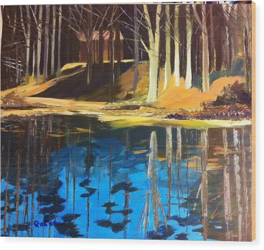 Wood Print featuring the painting Cabin #2 by Jane Croteau
