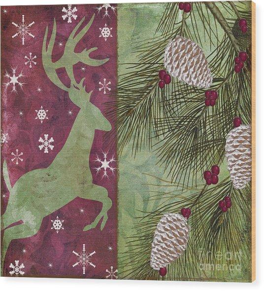 Cabin Christmas II Wood Print