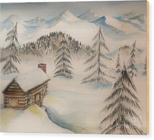 Cabin In The Rockies Wood Print
