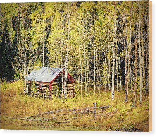 Cabin In The Golden Woods Wood Print