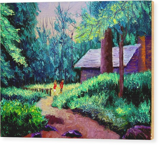 Cabin In Woods Wood Print by Stan Hamilton