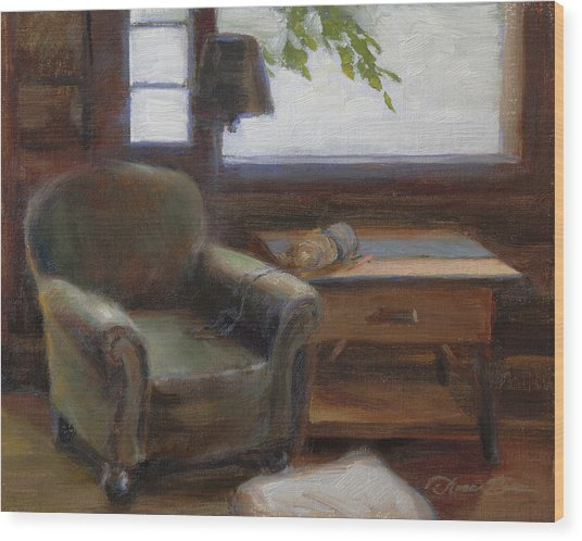Cabin Interior With Yarn Wood Print