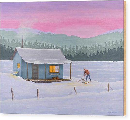 Cabin On A Frozen Lake Wood Print
