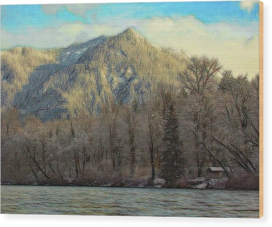 Cabin On The Skagit River Wood Print