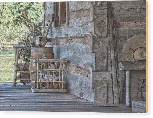 Cabin Porch1 Wood Print