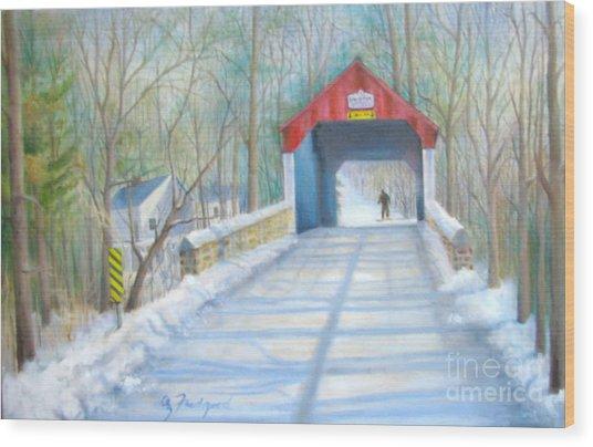 Cabin Run Bridge In Winter Wood Print