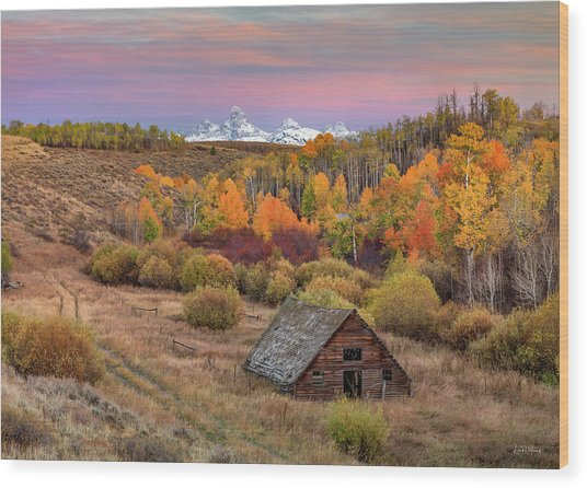 Wood Print featuring the photograph Cabin Under The Tetons by Leland D Howard