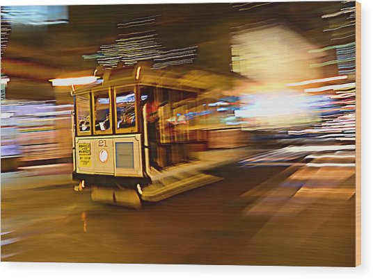 Cable Car At Light Speed Wood Print