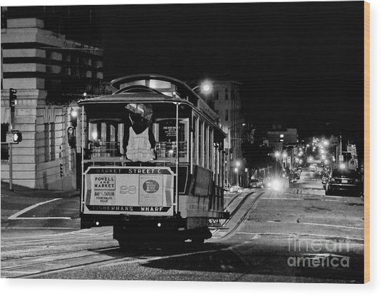 Cable Car At Night - San Francisco Wood Print