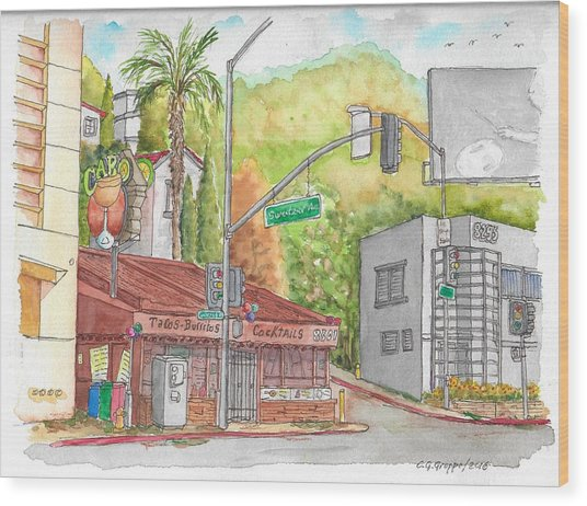 Cabo Cantina, Sunset Blvd And Sweetzer Ave., West Hollywood, California Wood Print