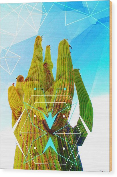 Wood Print featuring the mixed media Cacti Embrace by Michelle Dallocchio