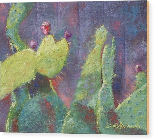 Prickly Pear Cactus Against Fence Wood Print
