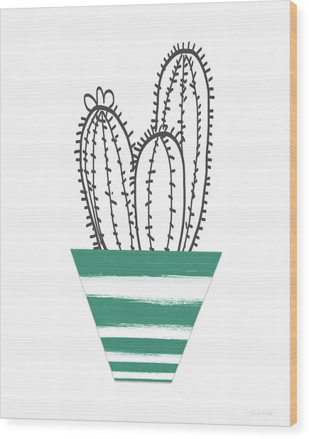 Cactus In A Green Pot- Art By Linda Woods Wood Print