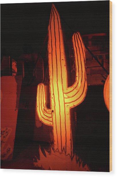 Cactus Neon Wood Print