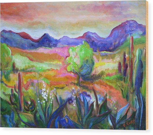 Cactus Spring Wood Print by Elaine Cory