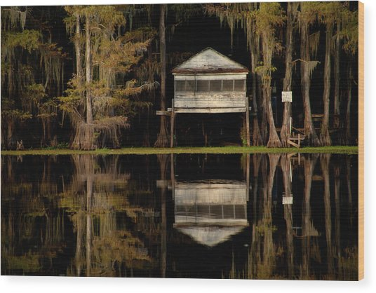 Caddo Lake Boathouse Wood Print