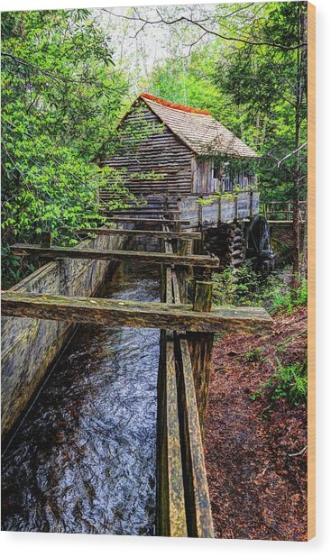 Cades Cove Grist Mill In The Great Smoky Mountains National Park  Wood Print