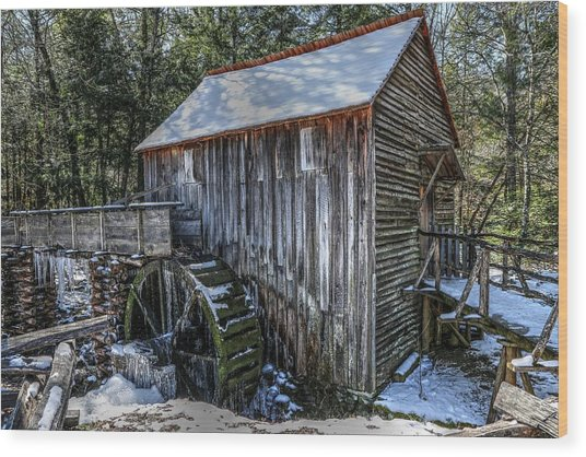 Cades Cove Grist Mill In Winter Wood Print