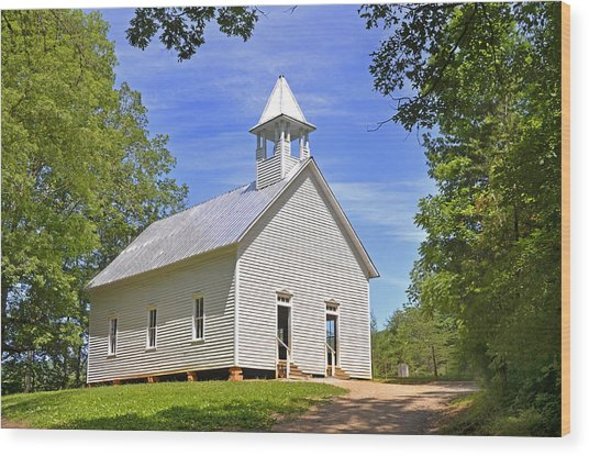 Cades Cove Methodist Church Wood Print
