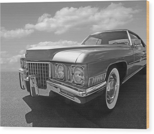 Cadillac Coupe De Ville 1971 In Black And White Wood Print