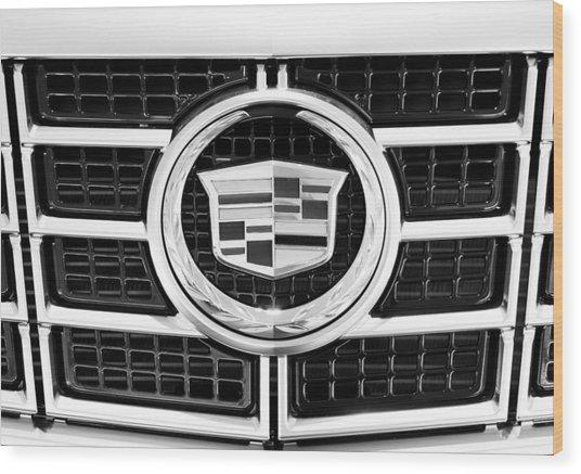 Cadillac Emblem Front Bw Wood Print