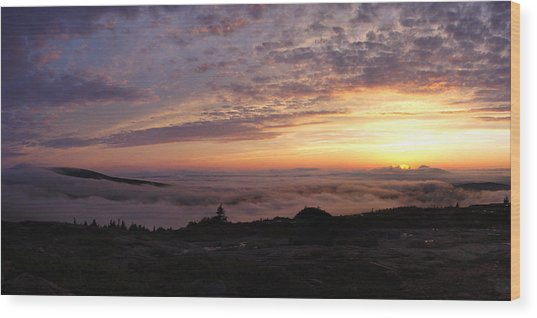 Cadillac Sunset IIi Panorama Wood Print by Rockstar Artworks