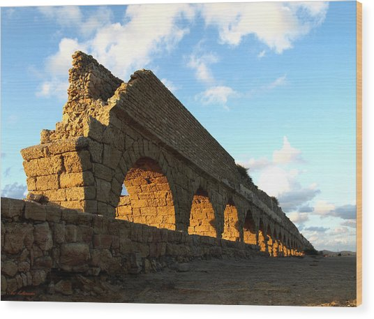 Caesarea  Aqueduct At Sunset. Wood Print