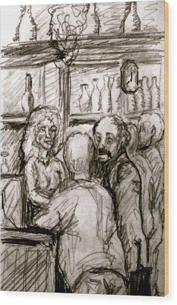 Cafe In Old Nice Wood Print by Dan Earle